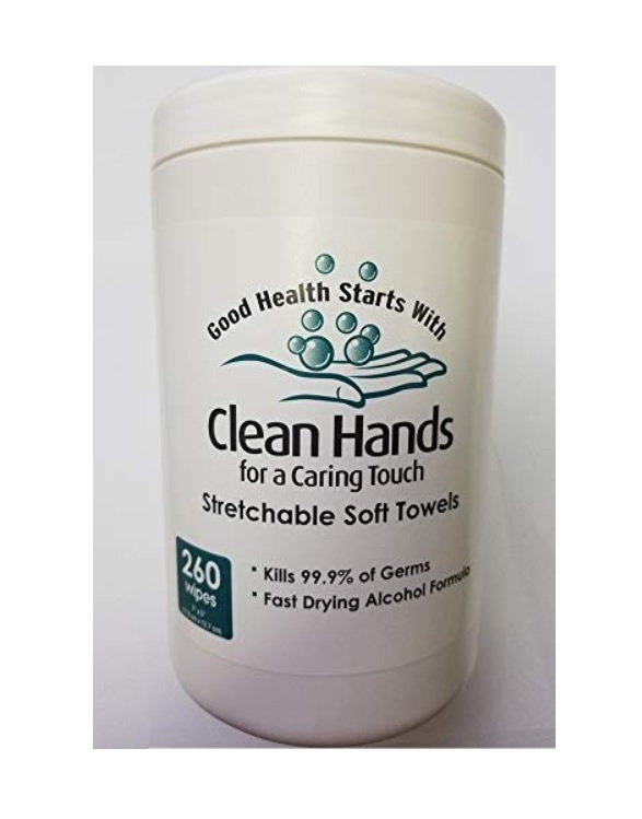 CLEAN HANDS 70% ETHYL ALCOHOL HAND SANITIZER WIPES CANISTERS