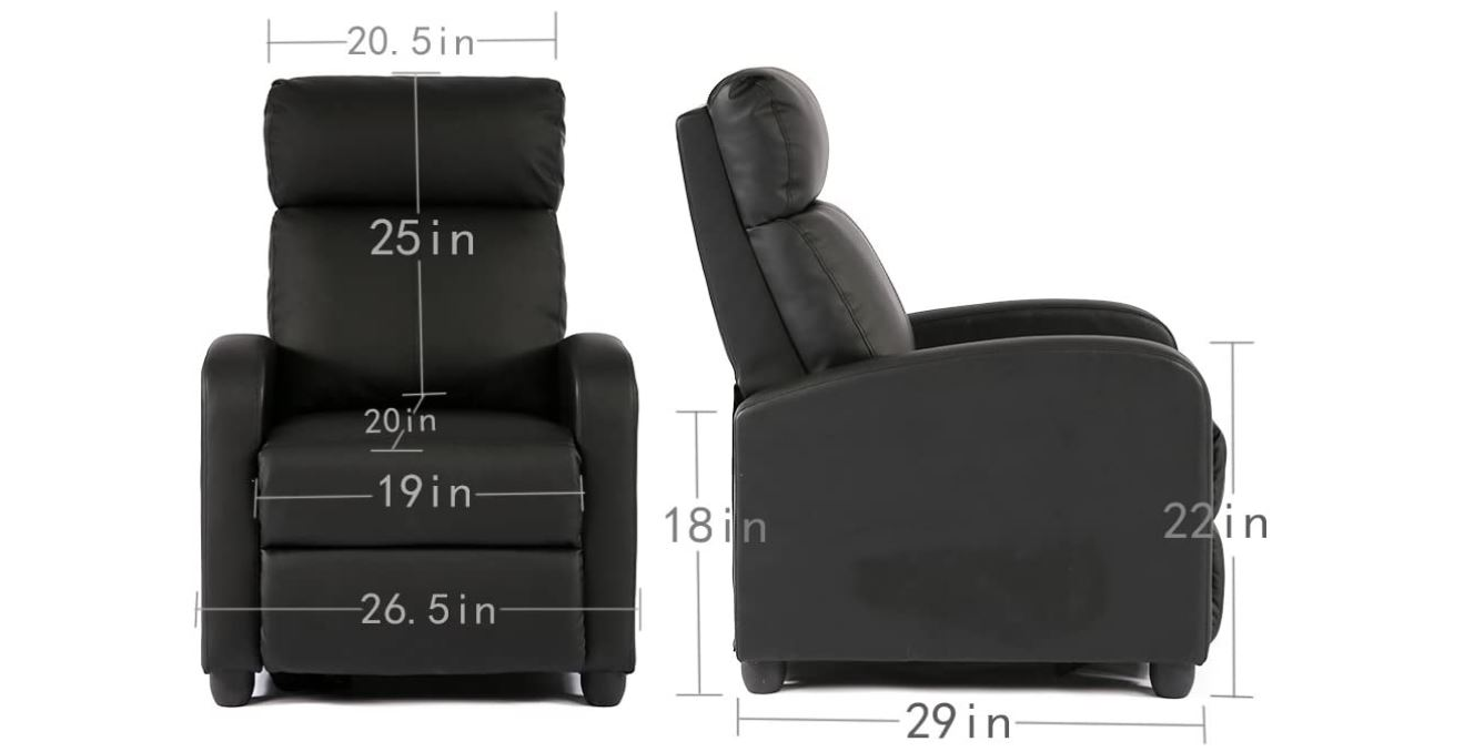 FDW Wingback Recliner Chair Leather Single Modern Sofa Home Theater Seating - BestCartReviews