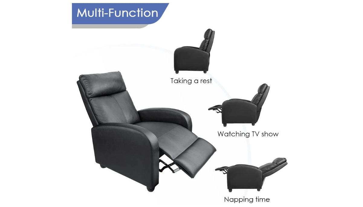 Reclining Chairs, Homall Recliner Chair Padded Seat PU Leather for Living Room Single Sofa - BestCartReviews