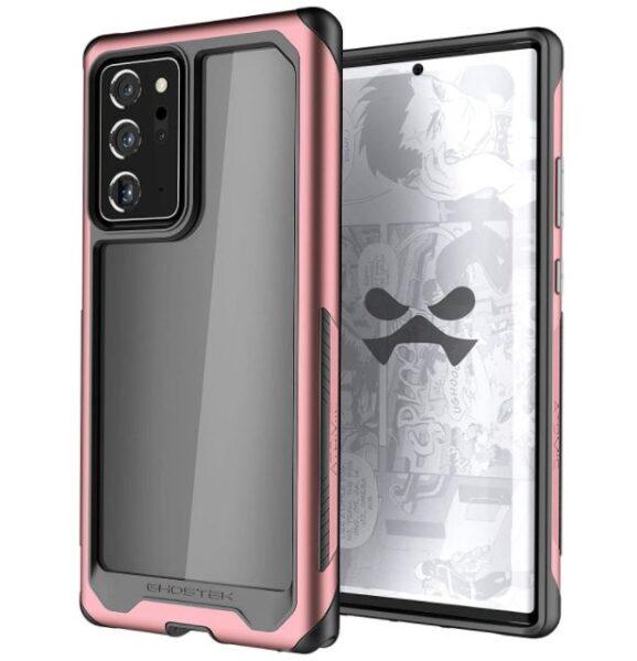 Ghostek Atomic Slim Aluminium Bumper Note 20 Ultra Case for Women in Clear Back Pink