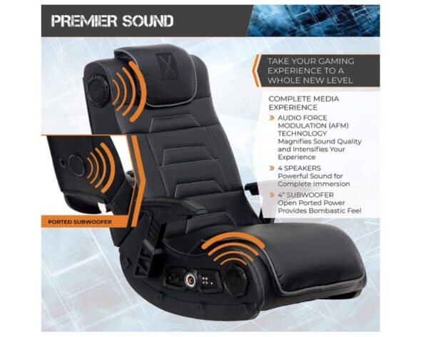 X Rocker Pro Series H3 Black Leather Vibrating Floor Video Gaming Chair with Headrest - BestCartReviews
