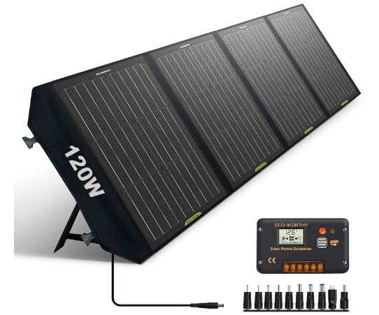 ECO-WORTHY 120W Foldable Solar Panel Charger for Portable Power Station & RV Battery